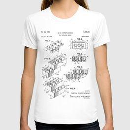 Legos Patent - Legos Brick Art - Black And White T-shirt