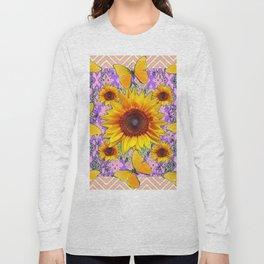 Purple Yellow Pattern  Butterflies Sunflowers Flowers Art Long Sleeve T-shirt