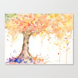 Watercolor Abstract Tree Fall Tree Golden Tree Canvas Print