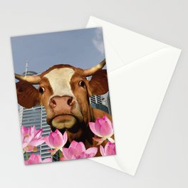 Singapur Skyline with Lotos Flowers and brown Cow Illustration Stationery Cards