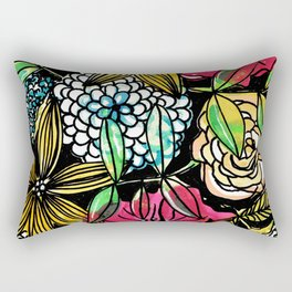 Flower Bouquet with black background Rectangular Pillow