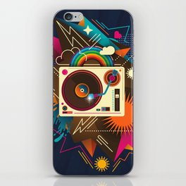 Goodtime Party Music Retro Rainbow Turntable Graphic iPhone Skin