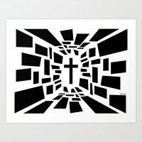 christian schloe Art Prints featuring Christian Cross by politics