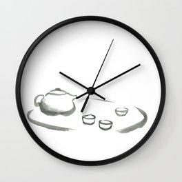 Japanese tea cup & teapot - brush painting Wall Clock
