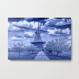Dutch Windmill The deZwaan in Delft Blue Metal Print