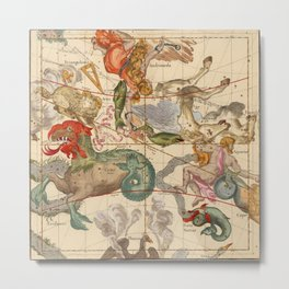 Star Atlas Vintage Constellation Map Ignace Gaston Pardies Metal Print
