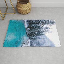 Magical river in enchanted winter forest Rug
