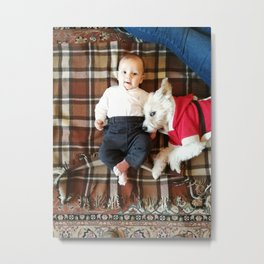 Newborn lying on a blanket with a doggie dressed as Santa Claus Metal Print