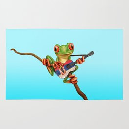 Tree Frog Playing Acoustic Guitar with Flag of Serbia Rug