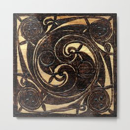 Wood Burnt Celtic Knot Metal Print
