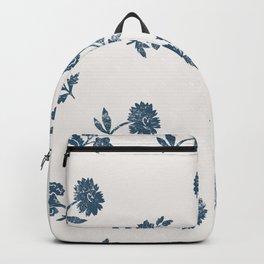 Lino print blue floral Backpack