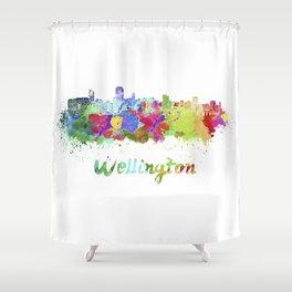 Wellington Skyline In Watercolor Shower Curtain