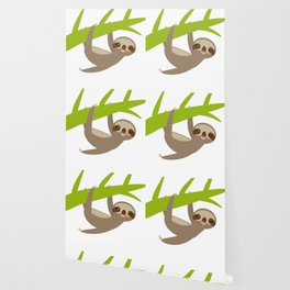 funny and cute smiling Three-toed sloth on green branch Wallpaper