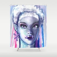 downton abbey Shower Curtains featuring Abbey Bominable by ROGUEKELSEY