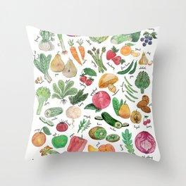Spring seasonal fruits & vegetables watercolor illustration Throw Pillow
