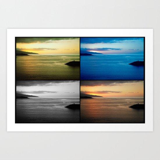 Quadriptych seascape at sunset Art Print