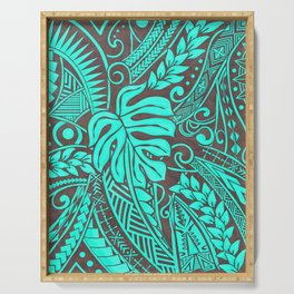 Teal Polynesian Tropical Leaf Design Serving Tray