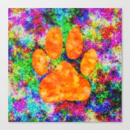 Dog Paw Print Watercolor Canvas Print
