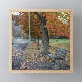 Autumn Bench Framed Mini Art Print