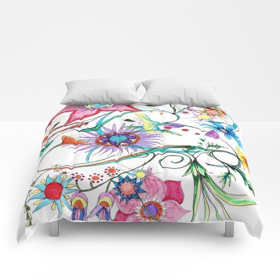 Gipsy garden - hand drawn Comforters