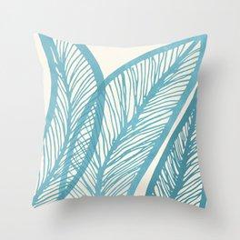 Blue Banana Leaf Throw Pillow