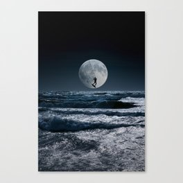 Kitesurfer in the moon in blue night sky horizon Canvas Print