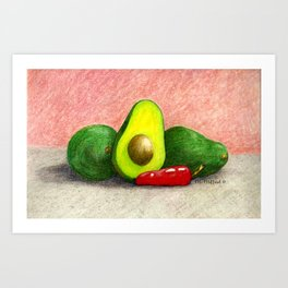 Avocados and Red Chile Pepper Art Print