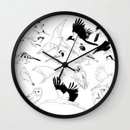 Birds Art Black and White Wall Clock
