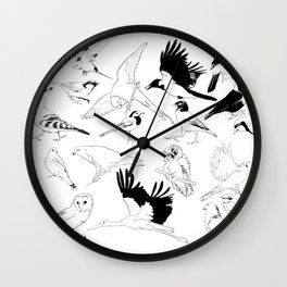Birds Art Black and White Wall Clock