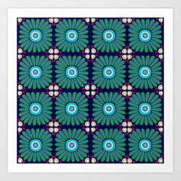 Green and Purple Daises Art Print