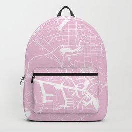 Amsterdam Pink on White Street Map Backpack