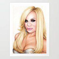 versace Art Prints featuring Donatella Versace by Denda Reloaded