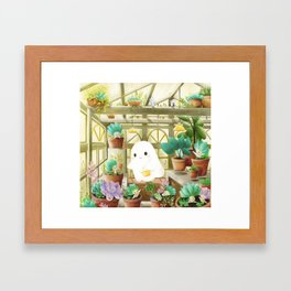Little ghost in the greenhouse Framed Art Print