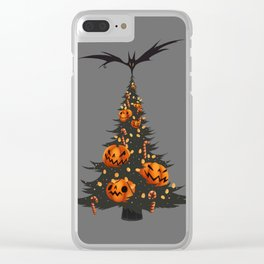 Halloween Christmas Tree - Gray Clear iPhone Case