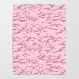 Waves Lines Texture Seamless Vector Pattern Pink Poster