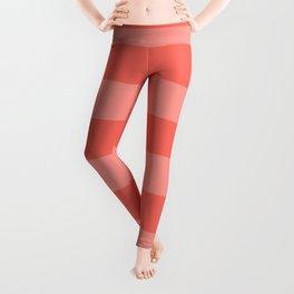 Coral Pink Thick Horizontal Stripes Leggings