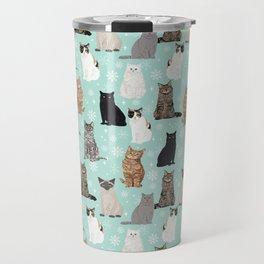 Cat snowflakes catsmas winter holiday pattern print pet portraits cat breed gifts Travel Mug