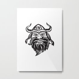 Viking Warrior Head Angry Black and White Metal Print