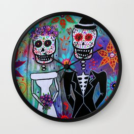 Dia de los Muertos Wedding Couple Painting Wall Clock