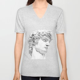 Profile of David statue by Miguel Angel Unisex V-Neck