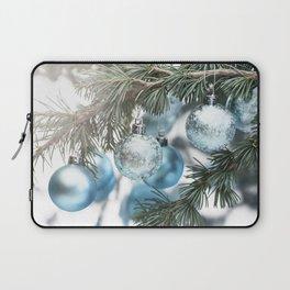 Blue Christmas baubles on tree Laptop Sleeve