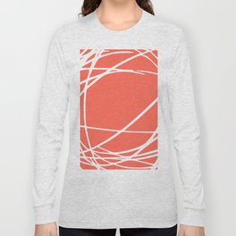 Striped Circles and Swirls, Living Coral, Abstract Long Sleeve T-shirt