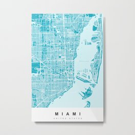Miami Map | Blue & Cyan | More Colors, Review My Collections Metal Print