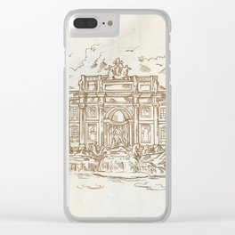 sketch of Trevi Fountain Clear iPhone Case