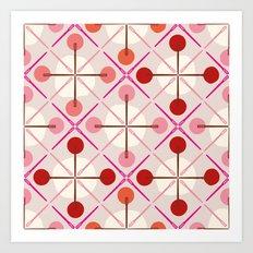 Crosses & Dots (red + pink) Art Print