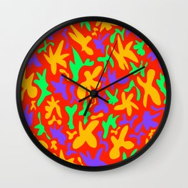 Abstract cute whimsical bright funny shapes on red background. Colorful retro stylish trendy design. Wall Clock