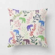 Watercolor Flowers & Elephants Throw Pillow