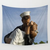 nurse Wall Tapestries featuring Kissing Sailor And Nurse Portrait by Christiane W. Schulze Art and Photograph