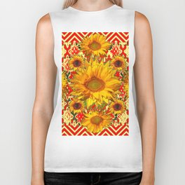 Red Patterns Yellow Sunflowers Abstract Art Biker Tank