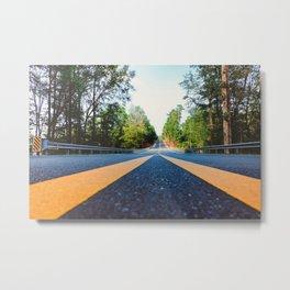 Between yellow lines Metal Print